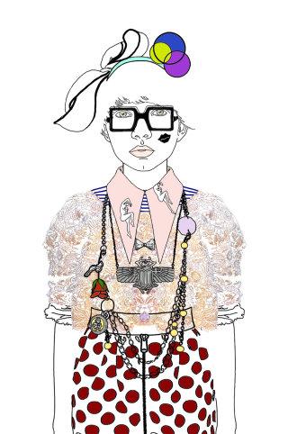 Fashion Illustration- lady Wearing Accessories