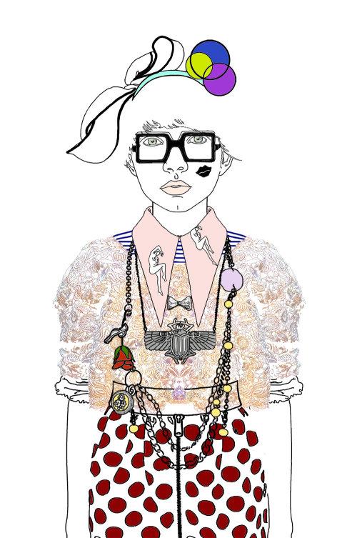 时装插画-女士穿着配件