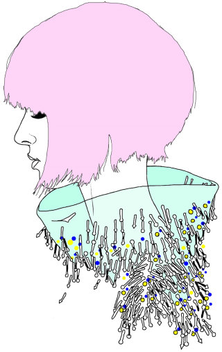 Beaded Collar, fashion illustration