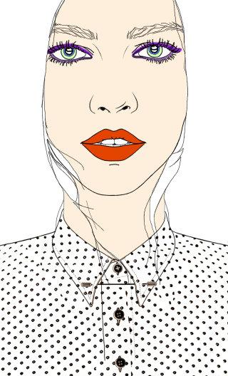 Model in polka dot shirt illustration by Montana Forbes