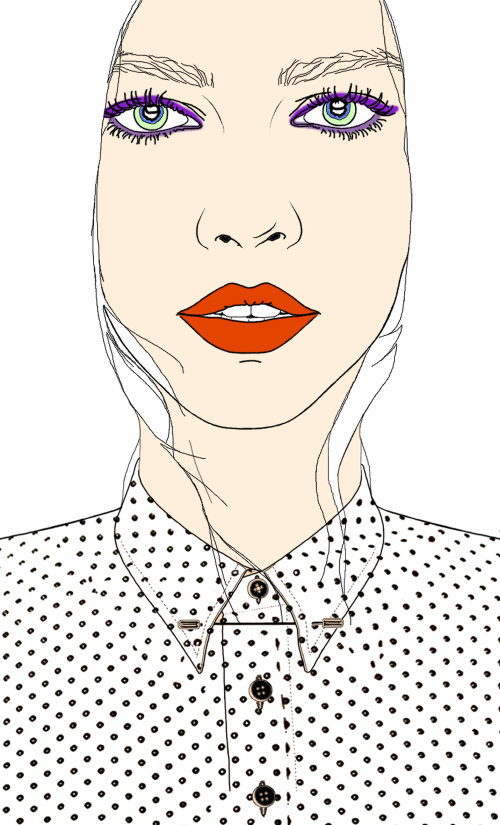 Model in polka dot shirt illustration by Montana Forbes