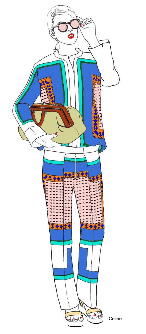 Lady in celine pyjama suit
