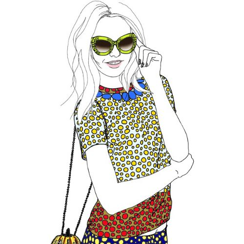 Yayoi Kusama fashion illustration