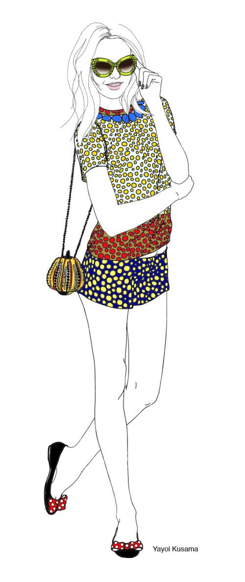 Yayoi Kusama fashion illustration
