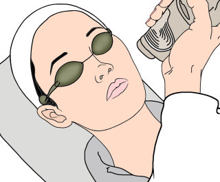 illustration of doctor doing laser skin treatment