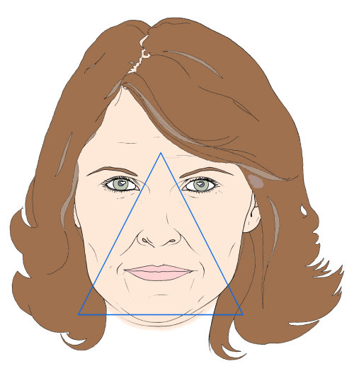 Line illustration of aged woman
