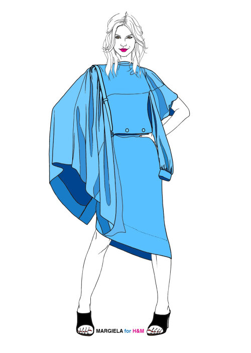 MARGIELA for H&M dress illustration by Montana Forbes