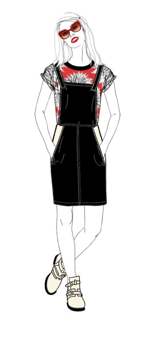 Female model in Black and red dress illustration by Montana Forbes