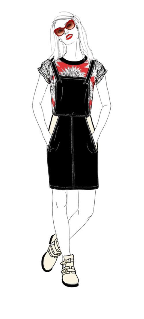 黑色和红色礼服的女模特插图,蒙大拿州《福布斯》
