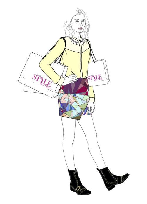 女孩购物的插图,蒙大拿州福布斯