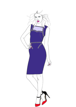 Stylish lady in blue dress
