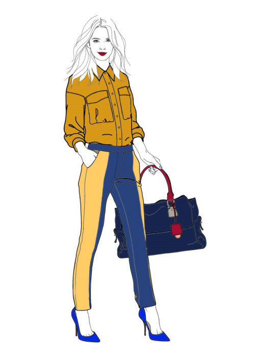 Lady holding bag illustration by Montana Forbes