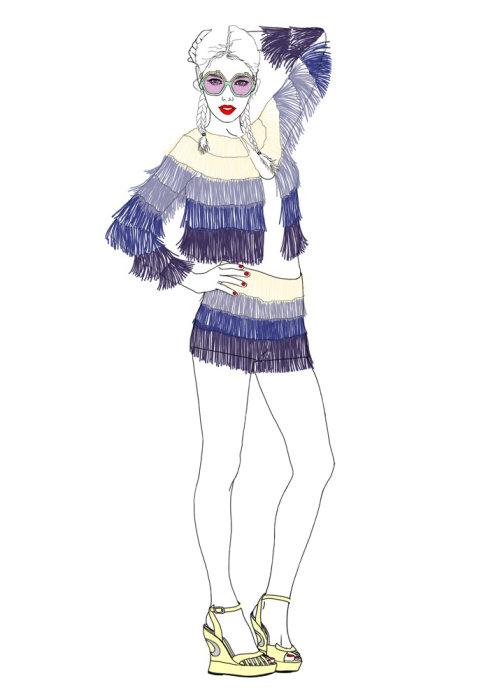 淑女时装模特插画,蒙大拿州福布斯