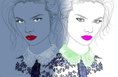 淑女发型和蕾丝领子的插图,蒙大拿州《福布斯》