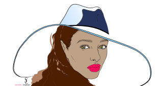Black model wearing Saint Laurent Hat