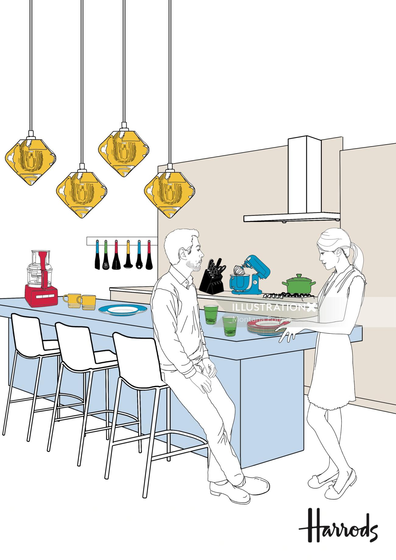 Illustration of kitchen and dining