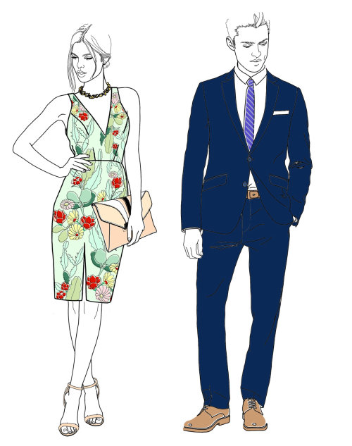Illustration for Harrods cocktail wear by Montana Forbes