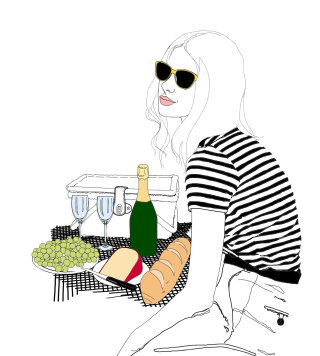 Woman at picnic illustration by Montana Forbes