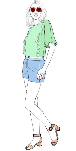 Lady in shorts and blouse