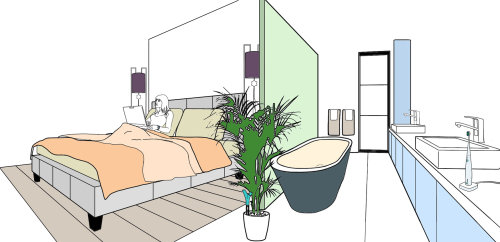 Bath tub and plant illustration by Montana Forbes