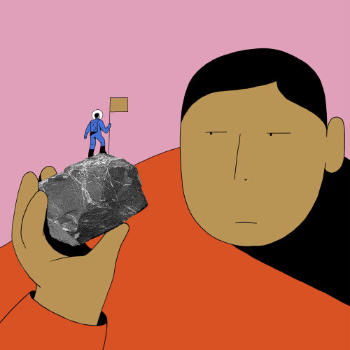 2D illustration of man and stone