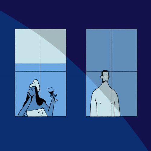2D illustration of man and woman design frame