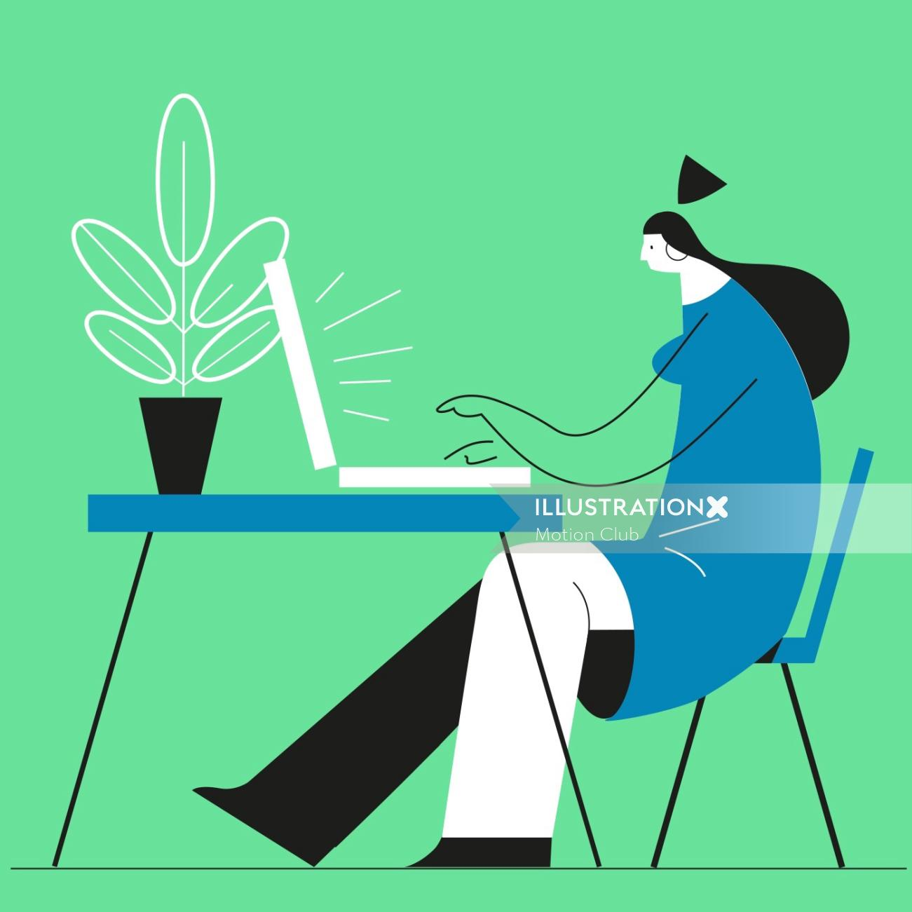Graphic illustration of woman working on laptop