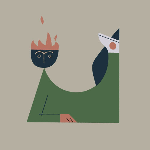 Playful character inspired by mid-century styles