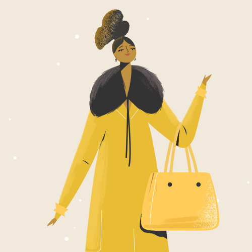 Fashion lady with handbag at Christmas time