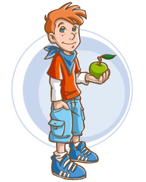Ilustração de criança com maçã