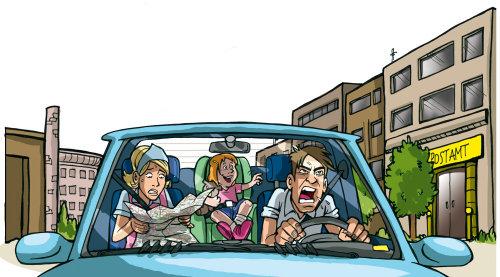 Família louca em um carro em movimento
