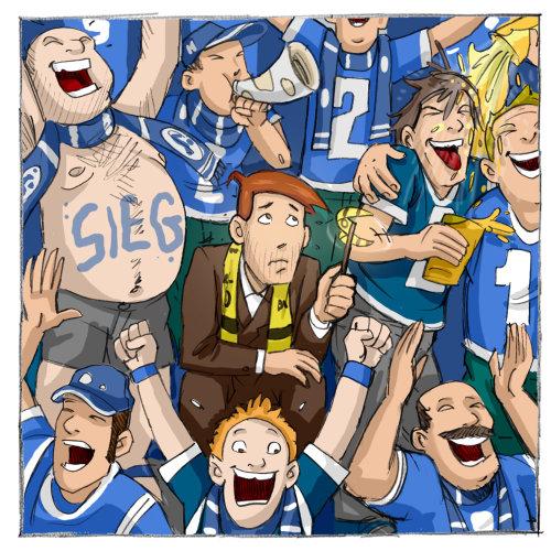 Homem desapontado, sentado com os fãs de futebol