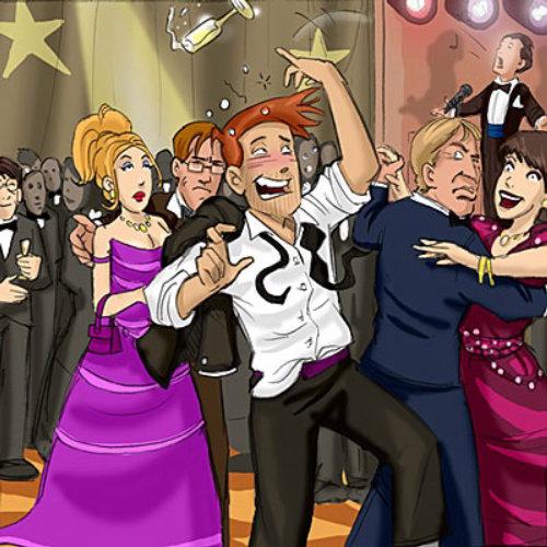 Ilustração de festa gerada por computador