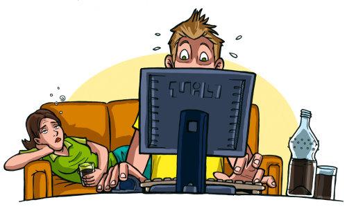 Menina deprimida com nerd do computador