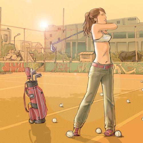 Girl Practicing Golf Shots