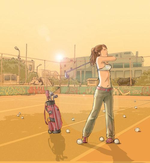 Garota praticando tiros de golfe