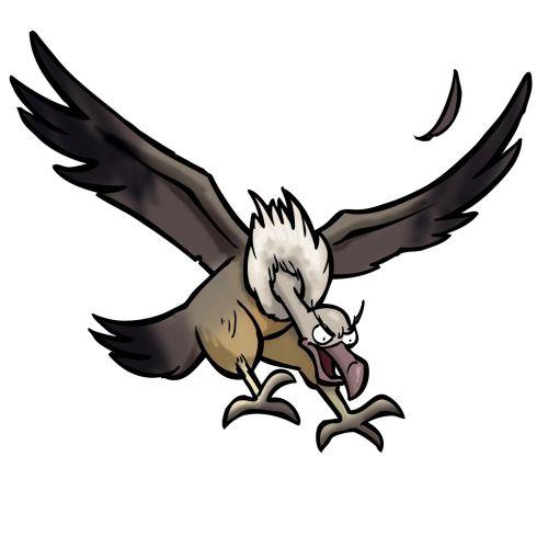 Vulture attacking prey