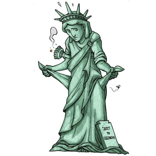 Triste estátua da liberdade