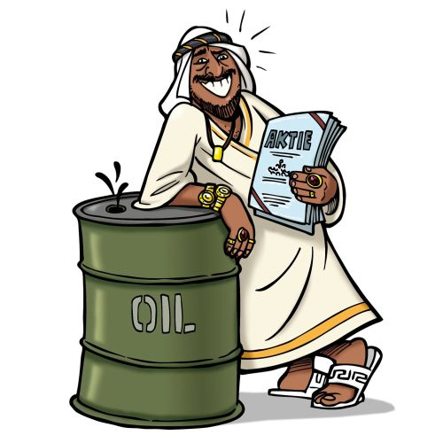 Sheikh leaning on Oil barrel