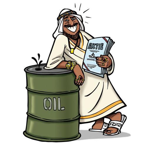 Sheikh, apoiando-se no barril de petróleo