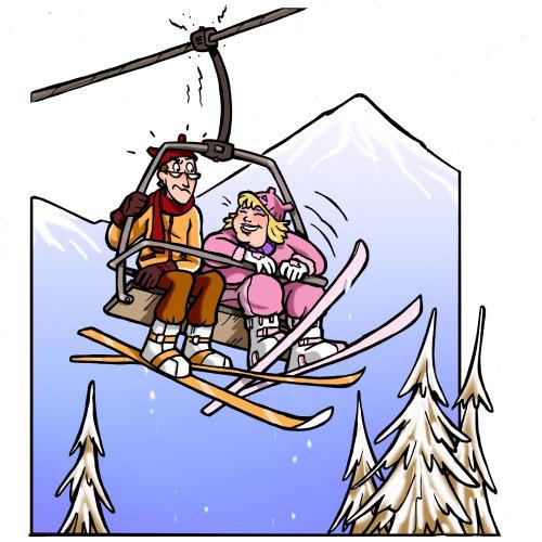 Personagem de teleférico Ilustração
