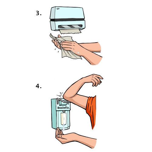 Limpeza das mãos com lavagem das mãos - Uma ilustração de Mueller Wegner