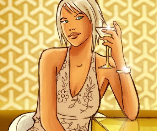 Menina bonita com cocktain na mão