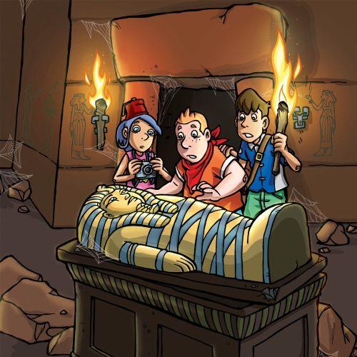 Children cartoon with ancient mummy