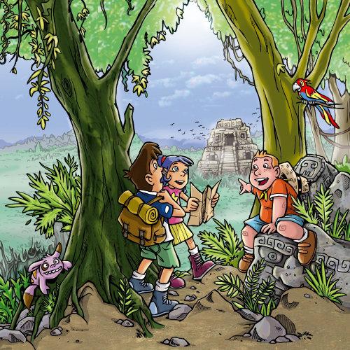 Desenho de crianças na selva