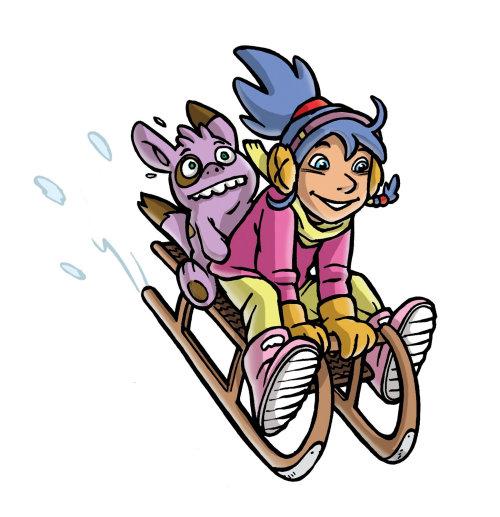 Esqui de menina e gato