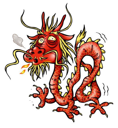 Ilustração dos desenhos animados do dragão
