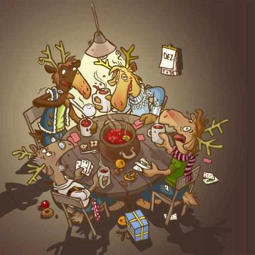 Quatro animais festejando com cartas de baralho