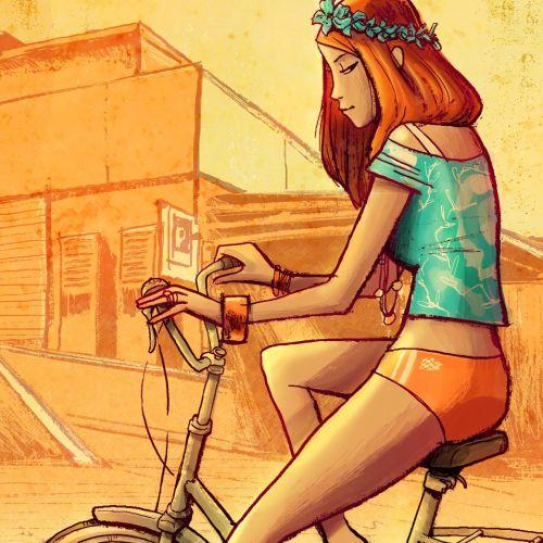 Beautiful girl riding bicycle