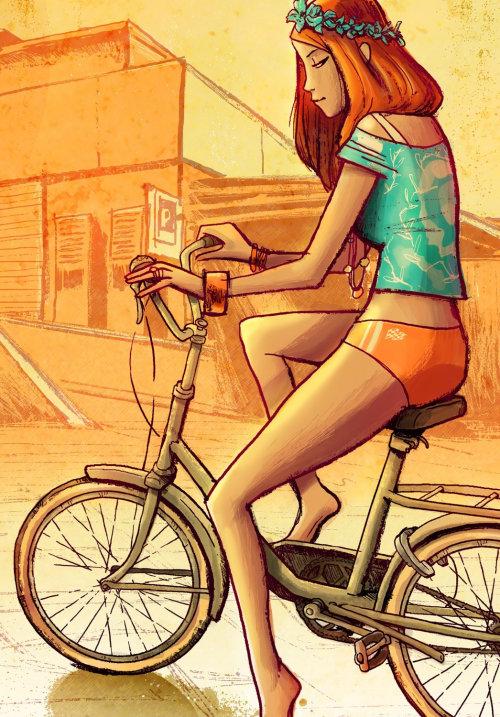 Bicicleta de equitação menina bonita